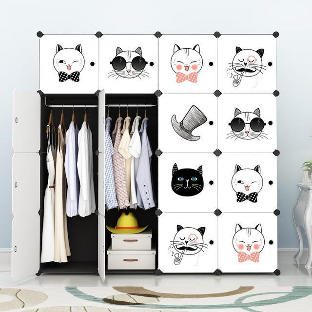 簡易衣櫃布組裝塑膠儲物收納櫃子單人折疊布藝兒童簡約現代經濟型