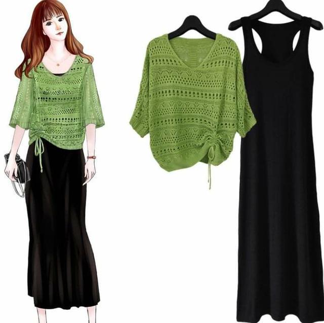 新款縷空半袖針織衫+內搭連身長裙