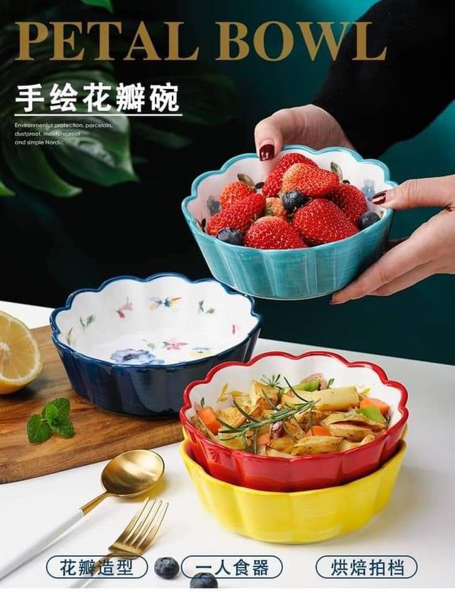 創意陶瓷花朵6寸沙拉碗-3入