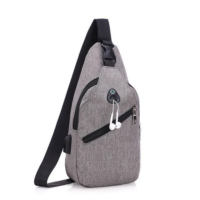 爆款簡約男士胸包歐美潮單肩包斜挎包運動青年小包