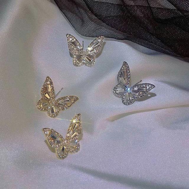 銀針鋯石水鑽蝴蝶耳環