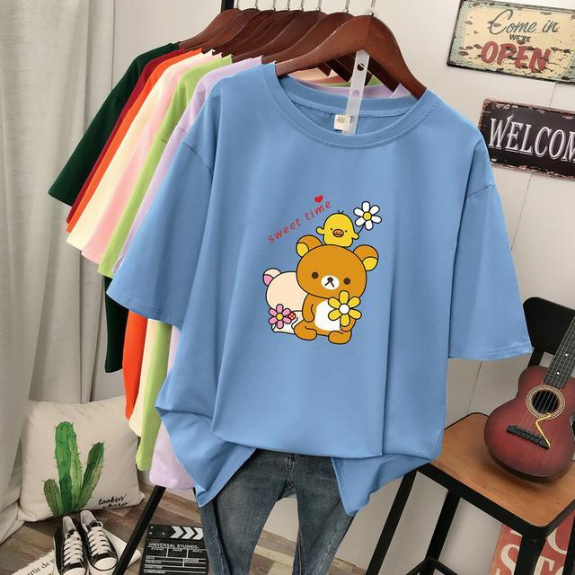 (預購)小雏菊纯棉t恤女夏装新款韓版寬鬆遮肚顯瘦大碼胖mm小熊短袖上衣