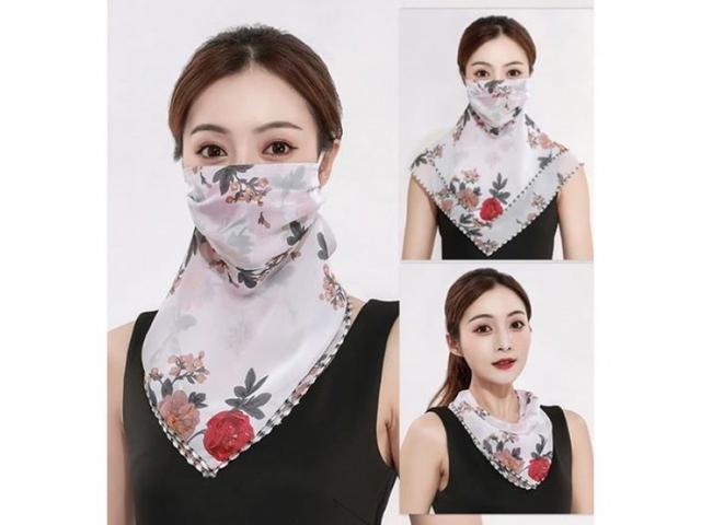 多用途冰絲涼感防曬口罩面紗(一組3個)