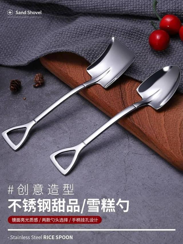 304不鏽鋼鏟子造型湯匙(2支)