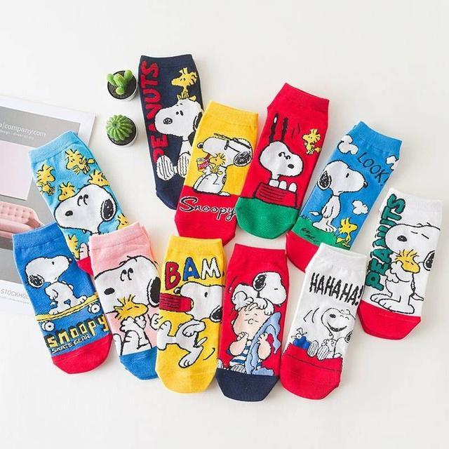 出口韓國高品質史努比印花棉襪(12雙/組)