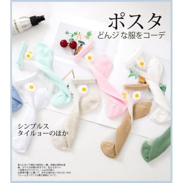 預購B089 - 日系涼感玻璃絲小雛菊船襪(一組10雙