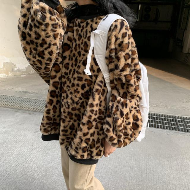 11/20 復古寬鬆毛絨豹紋衛衣外套(2色)