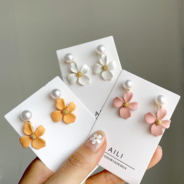 韓國氣質簡約糖果色啞光小花朵珍珠耳釘