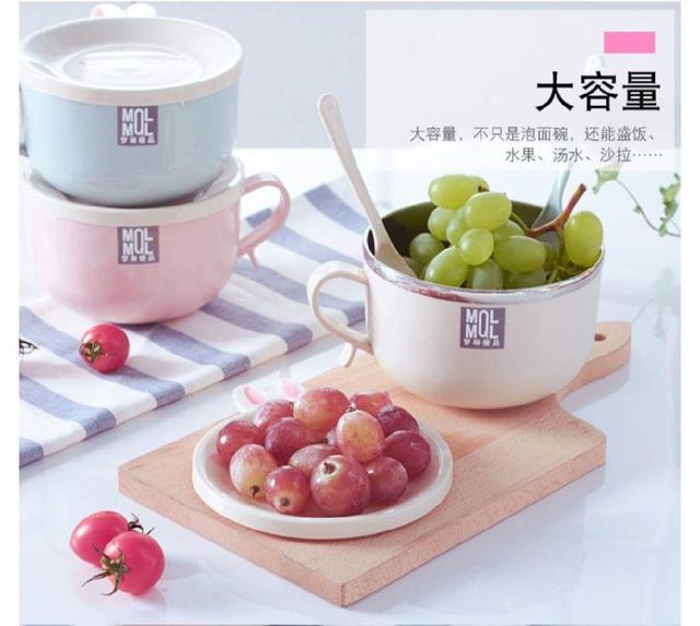 日式可愛兔不鏽鋼雙層泡麵碗附蓋勺子