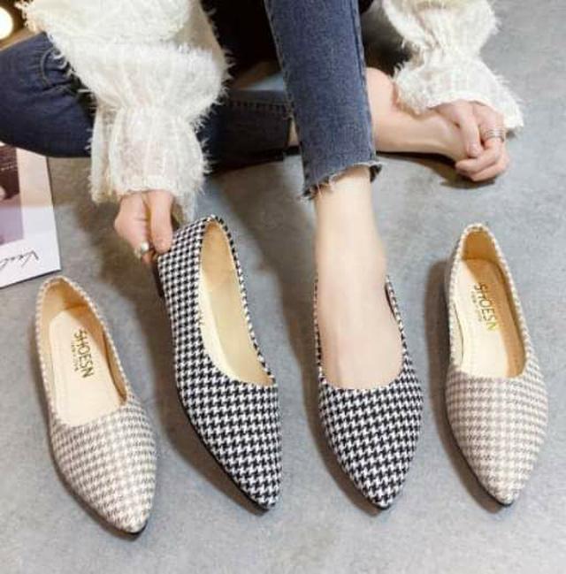 經典千鳥格小尖頭淑女鞋 (35~40碼)