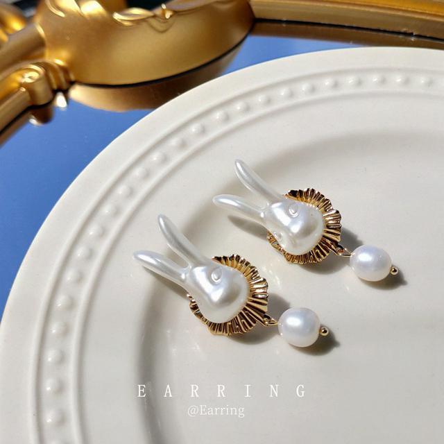 [愛麗絲]925銀針鍍14K淡水珍珠兔子耳環女 童話系列耳飾 耳釘