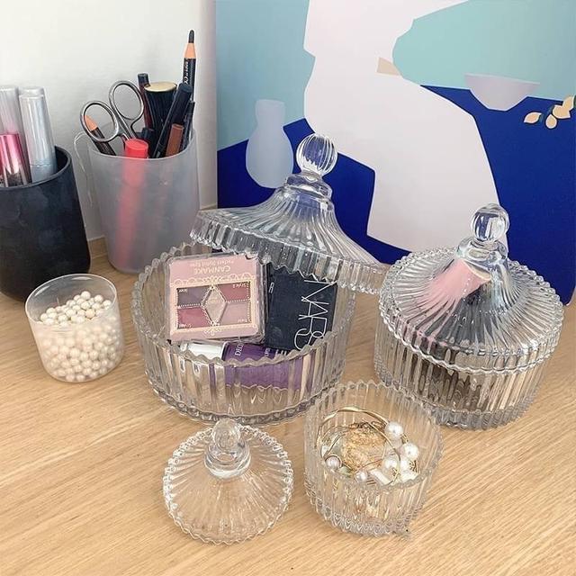 韓國ins梳妝台糖果🍬罐玻璃造型收納盒