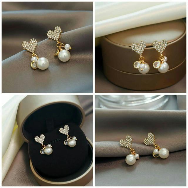 預購韓版鑲鑽愛心形珍珠耳環