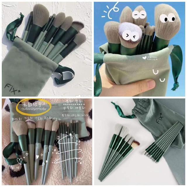 高品質外單 Fix莫蘭迪綠 超柔軟細毛 速乾 化妝刷(一組13隻/精美布包)