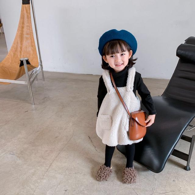 韓版女童加厚絨毛背帶裙