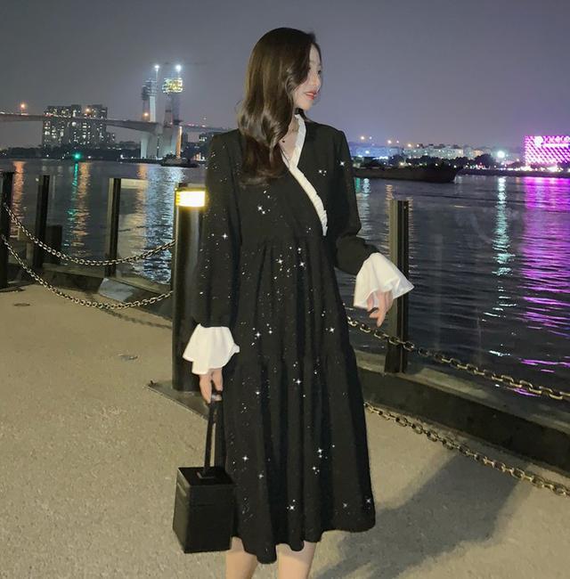 11 S-L 韓版 閃亮拼接喇叭袖連衣裙