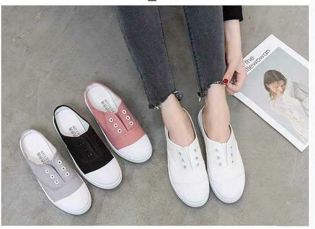 原宿風帆布懶人鞋