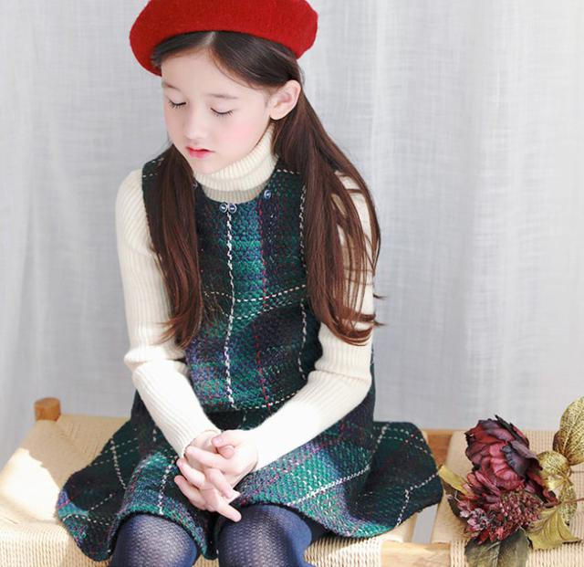 11 7-19 童裝 加厚羊毛呢格紋背心裙 親子裝 8228
