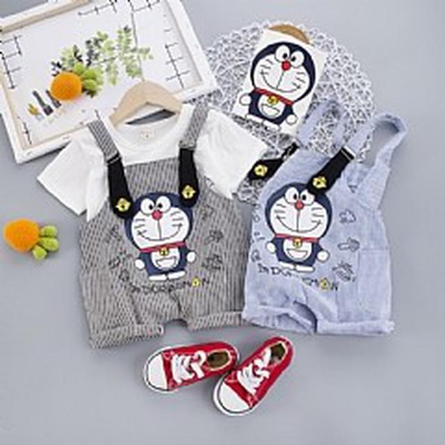 優質小童裝 (80-110) 機器貓T恤+背帶褲 兩件套(2色)