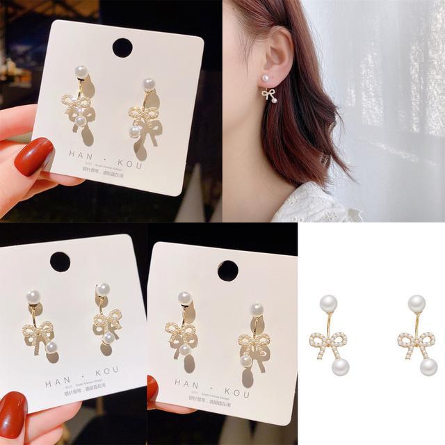 預購不對稱蝴蝶結珍珠耳環