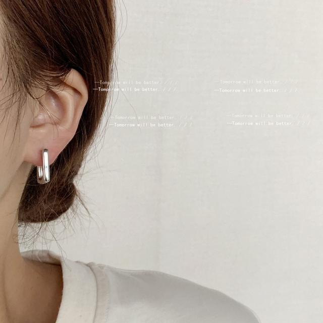 冷淡風金屬感銀色方形耳扣個性嘻哈男女通用耳飾幾何耳環潮人耳環