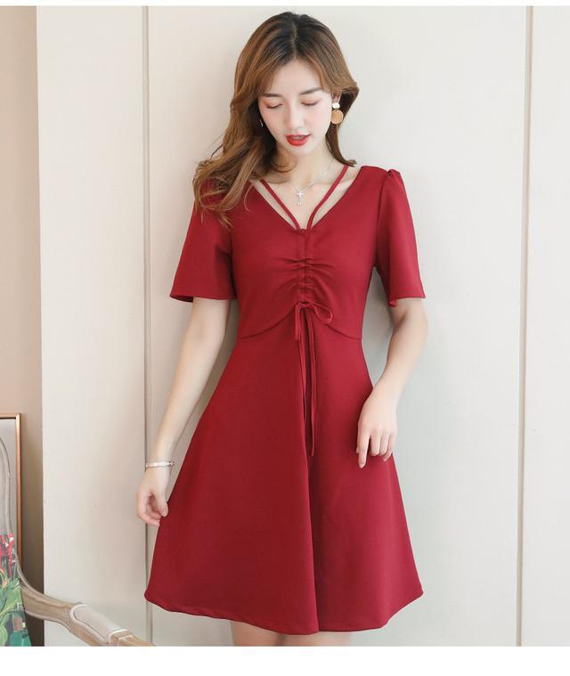 11 S-2XL 百搭短袖連衣裙(兩色