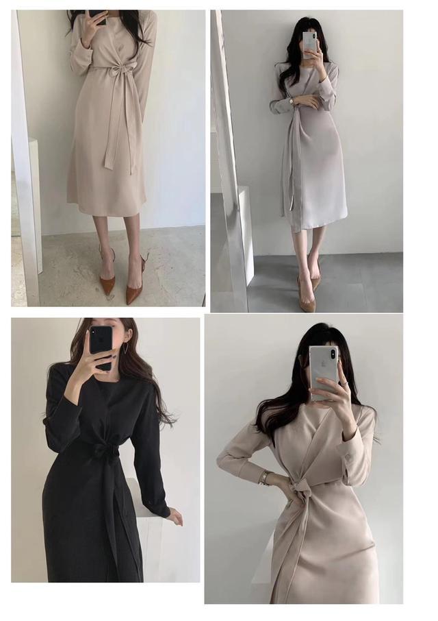 預購早秋韓國雪紡綁帶連身裙