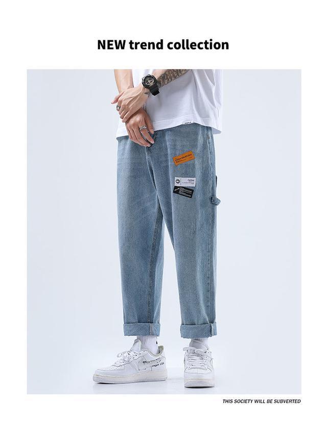 港風褲子男學生韓版牛仔褲男寬松ins直筒褲潮流闊腿褲男褲秋冬款