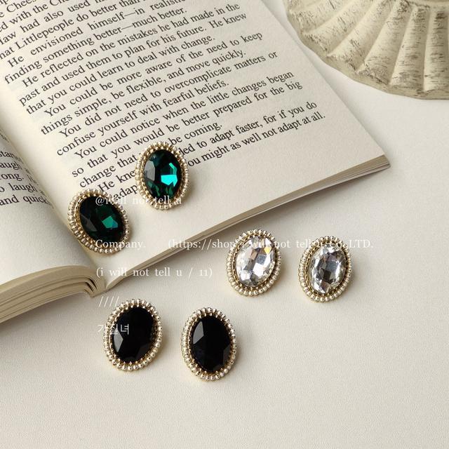 925銀針日韓時尚水晶橢圓形耳釘女小香風法式復古氣質耳環IG耳飾