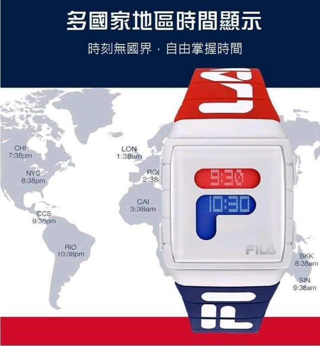 (預購s) FILA韓國明星熱賣款LED多時區顯示電子防水手錶