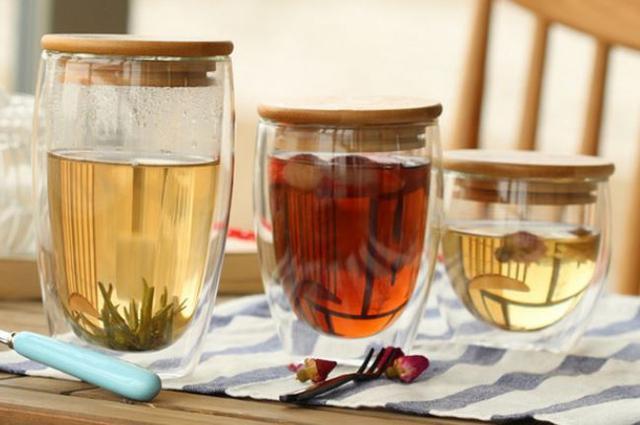木蓋雙層隔熱玻璃杯
