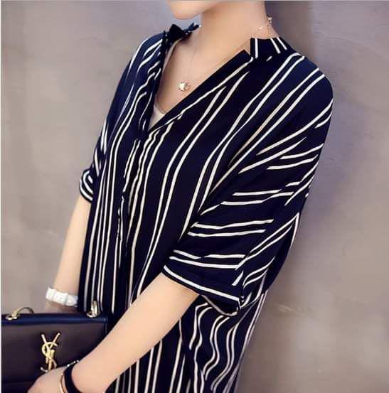 (預購S+)韓版休閒加大條紋杉短袖連衣裙