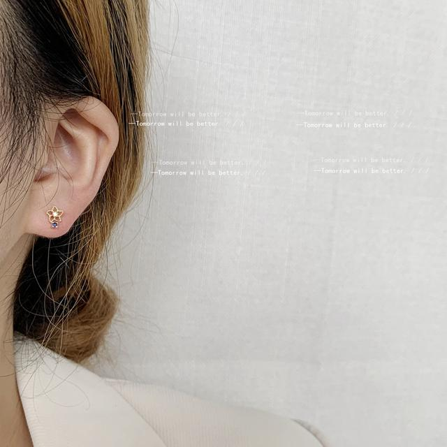 迷你版~925銀針鍍14K小花耳釘女簡約鏤空氣質耳飾創意IG甜美
