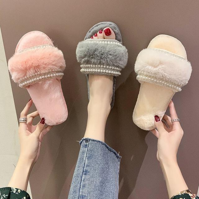 預購-棉拖鞋女冬季保暖居家ins可愛網红水鑽毛毛绒拖鞋(卡)