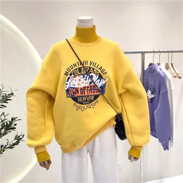 【預購】印花顯瘦高領加絨上衣