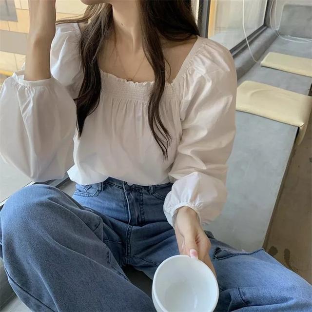 #預購燈籠袖氣質韓版長袖長襯衫上衣2色