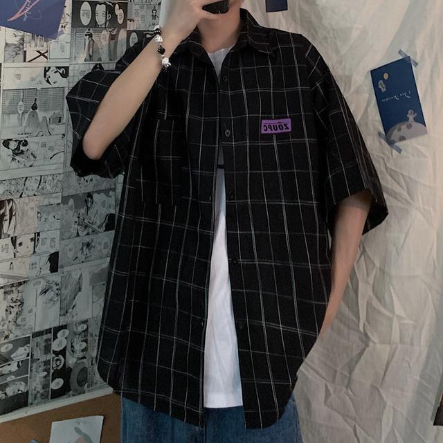 0617 M-XL 男女款 復古日系格子純棉短袖襯衫