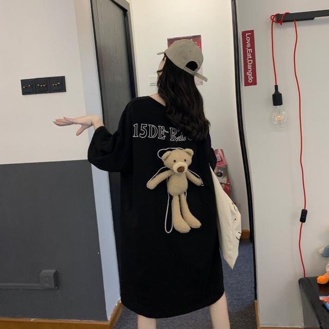 【預購】超熱銷款!!可拆卸立體小熊中長款上衣