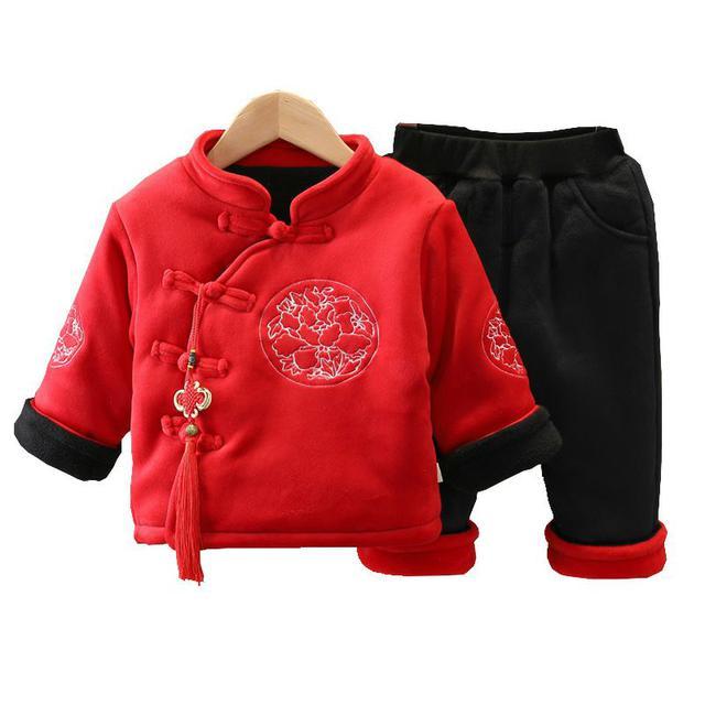 男童拜年服寶寶童裝女童唐裝兒童加厚冬裝漢服中國風新年套裝加絨