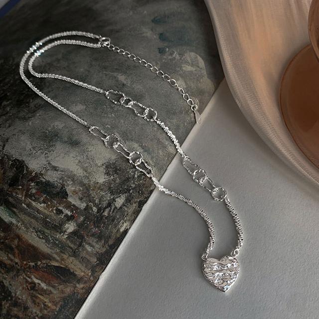925純銀熔岩愛心項鍊小眾IG冷淡風創意設計感精緻復古鎖骨鏈