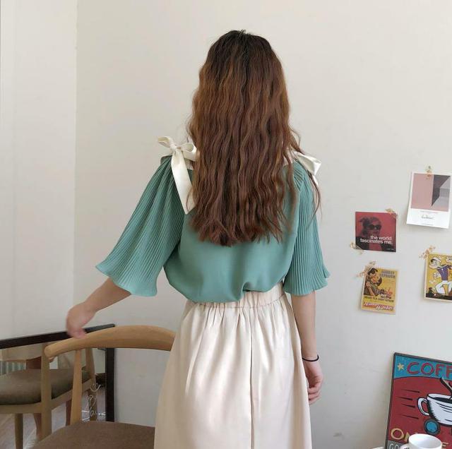 雪紡上衣+不規則長裙