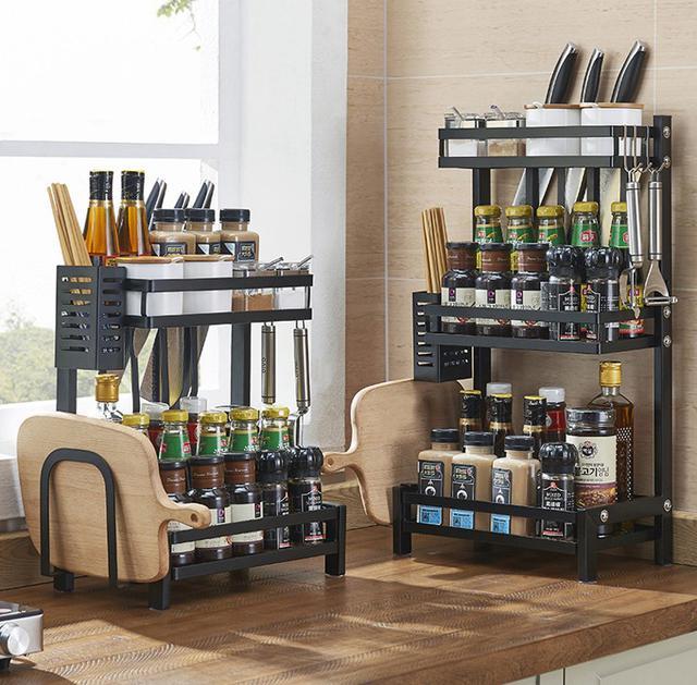 不銹鋼廚房置物架 桌面多層調味料架子