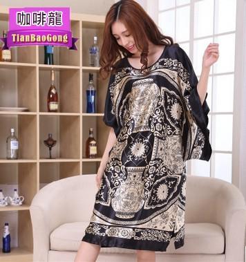 絲綢印花連身裙居家服
