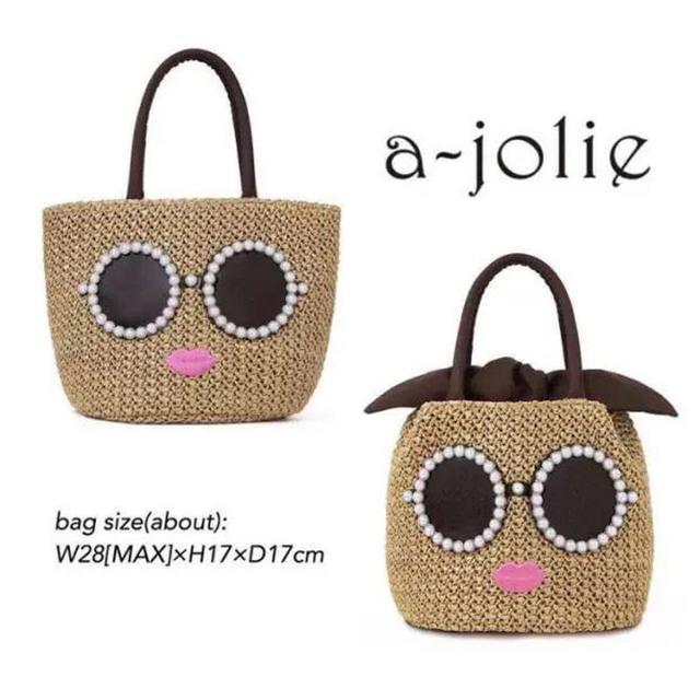 日本雜誌A-Jolie附錄包可愛卡通嘴脣太陽眼鏡草編手提包 藤編手拎包