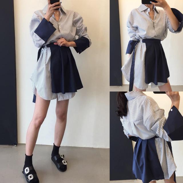 預購韓國款兩件套襯衫連身裙