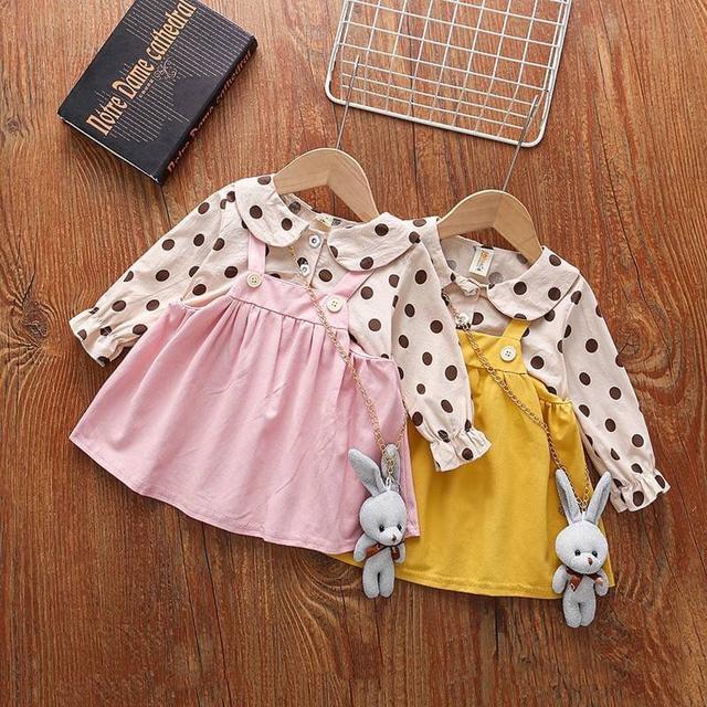 KD115-13 學院風波點假兩件洋裝