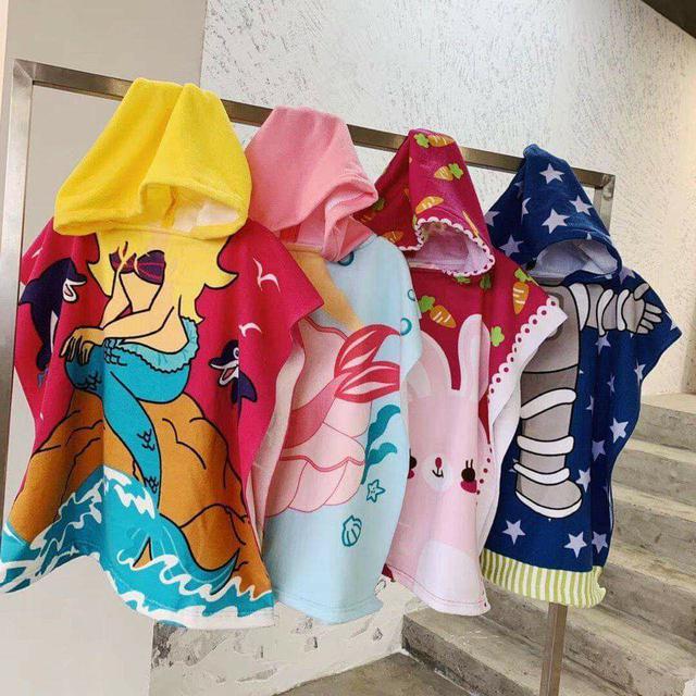 (預購S) K218 - 兒童連帽浴巾披風斗篷浴巾