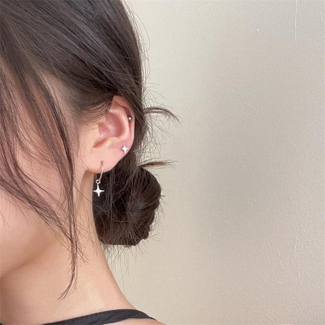 s925純銀耳釘女簡約個性不對稱ins冷淡風星星時尚潮流韓國飾品