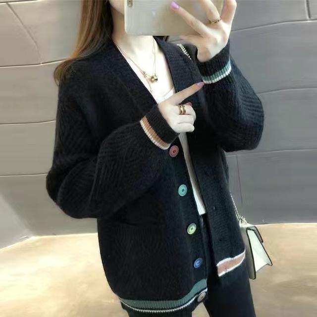 秋冬新款針織毛衣女士套頭純色寬松針織打底衫連帽衛衣上衣外套潮