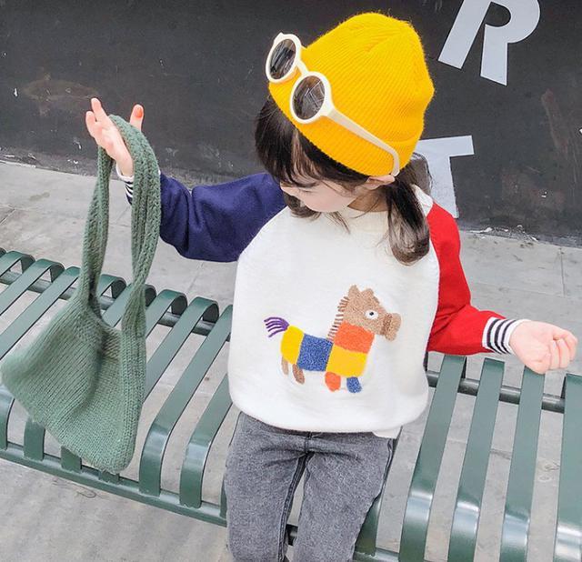 11 90-130 小童裝 拼色小馬卡通針織衫(2色) 82291